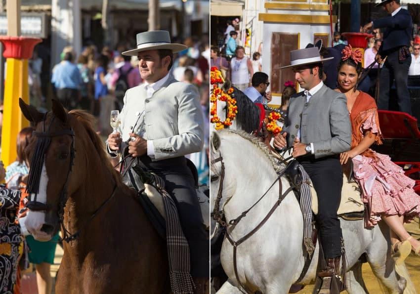 Reiter-mit-Sherryglas-in-Jerez-de-la-Frontera-und-Paar-bei-der-Feria-del-Caballo