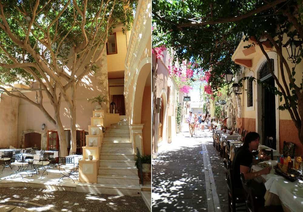 Innenhof im Casa Delfino und die Gassen von Chania