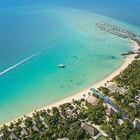 Lagune aus der Vogelperspektive - Fairmont Maldives Sirru Fen Fushi