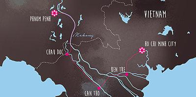Karte Abenteuer Mekong: Von Saigon nach Phnom Penh