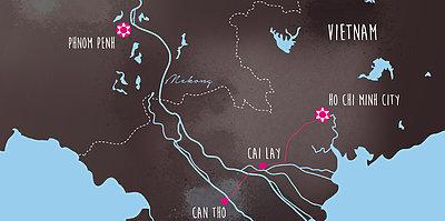 Karte Mekong Delta: die Reiskammer Asiens