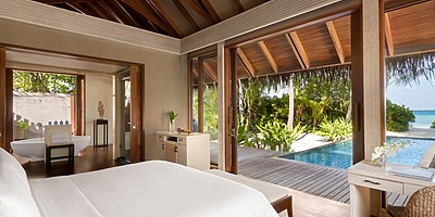 1 BR Beach Villa Private Pool Schlafzimmer - Shangri-La`s Villingili Resort and Spa