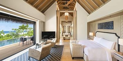 Beach Villa Schlafzimmer (King) - Waldorf Astoria Maldives Ithaafushi
