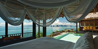 Six Senses Yao Noi - Ocean Panorama Pool Villa Schlafzimmer
