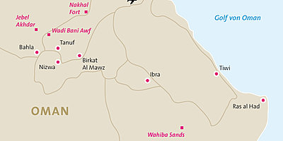 Rundreise Oman - Karte Rundreise