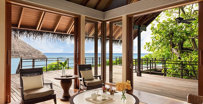 1 BR Ocean Tree House Villa Private Pool Wohnzimmer -Shangri-La`s Villingili Resort and Spa