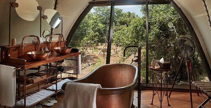 Badezimmer Cocoon Suite - Wild Coast Tented Lodge