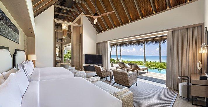 Beach Villa mit Pool Twin Schlafzimmer - Waldorf Astoria Maldives Ithaafushi