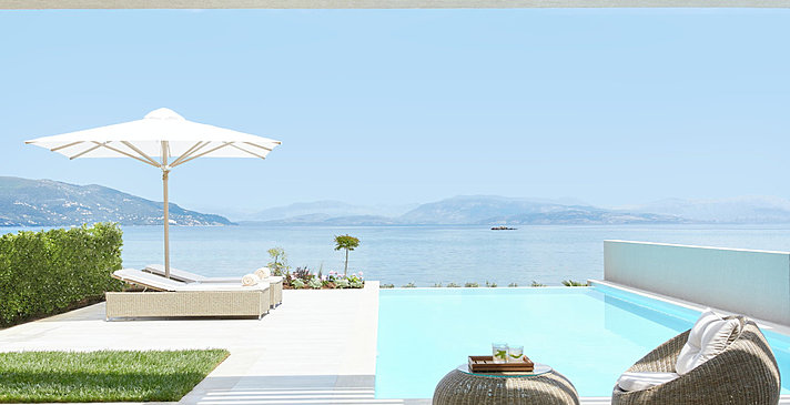 Deluxe 1 BR Suite Private Pool Beachfront - Ikos Dassia