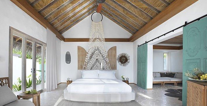 Deluxe Beach Sunrise Villa Schlafzimmer - Fairmont Maldives Sirru Fen Fushi