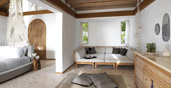 Deluxe Beach Sunrise Villa Wohnzimmer - Fairmont Maldives Sirru Fen Fushi