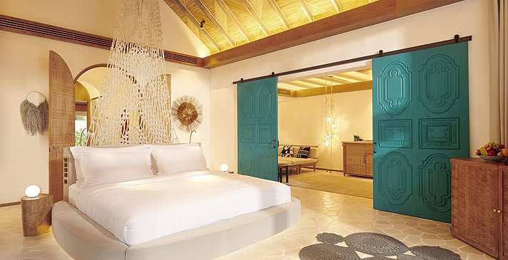 Deluxe Beach Sunset Villa Schlafzimmer - Fairmont Maldives Sirru Fen Fushi