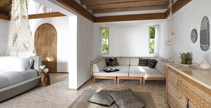 Deluxe Beach Sunset Villa Wohnzimmer - Fairmont Maldives Sirru Fen Fushi
