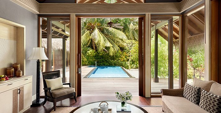 Deluxe Pool Villa Wohnzimmer - Shangri-La`s Villingili Resort and Spa