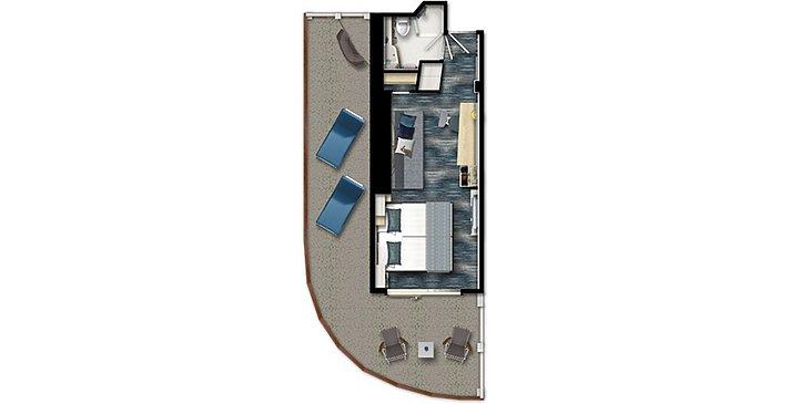 Neue Mein Schiff 1   Grundriss Premium Verandakabine