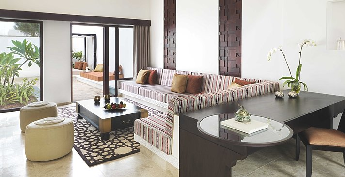 One Bedroom Garden View Pool Villa Wohnbereich - Al Baleed Resort Salalah by Anantara