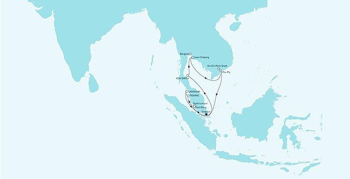 Route Asien mit Singapur