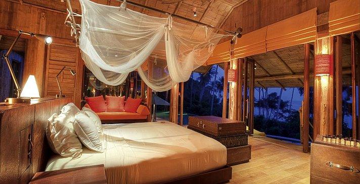 Soneva Kiri - Cliff Pool Villa Suite Schlafzimmer
