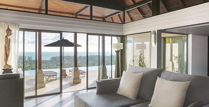 Ocean View Pool Villa Wohnzimmer - The Pavilions Phuket