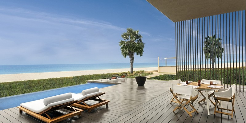 Terrasse der Two Bedroom Pool Villa - The Oberoi Beach Resort, Al Zorah